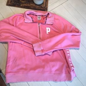 Pink distressed pull over